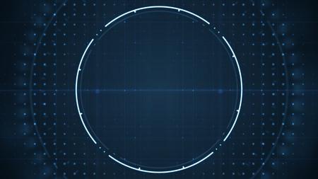Interfaz de usuario futuro tecnológico hud con círculos giratorios sobre fondo azul oscuro. Concepto de fondo de tecnología.