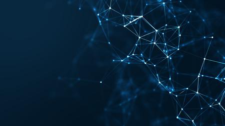 Abstrakte verbundene Punkte und Linien auf blauem Hintergrund. Kommunikations- und Technologienetzwerkkonzept mit beweglichen Linien und Punkten. Standard-Bild