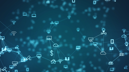 Global network concept. IoT(Internet of Things). ICT(Information Communication Network). Network of physical devices with network connectivity.