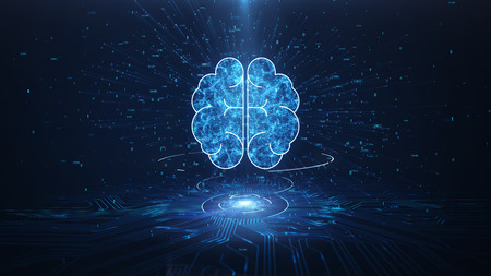 Artificial Intelligence Brain Animation, Big Data Flow Analysis, Deep Learning Modern Technologies Concepts.Neural Connection Visualization. Futuristic Cyber Technology Innovation, Cyber Mind.