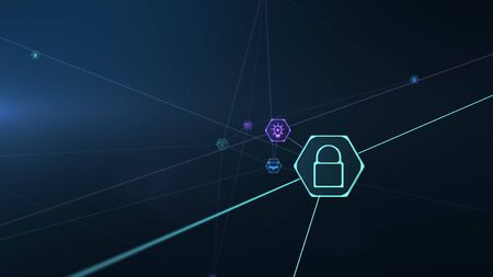 Internet of things icon innovation technology concept. Smart city wireless communication network. Spider web of network connections with lines and IOT icons on a futuristic blue background.