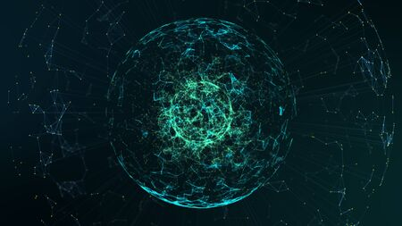 Big data center concept.Futuristic spherical interface. Fractal element with lines and dots.Big data connection complex. Motion graphic abstract background. Zdjęcie Seryjne