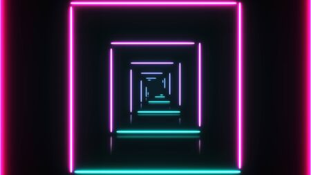 Abstract background green pink spectrum looped animation fluorescent ultraviolet light, glowing neon lines, moving forward inside endless tunnel, green pink spectrum, colorful illumination.