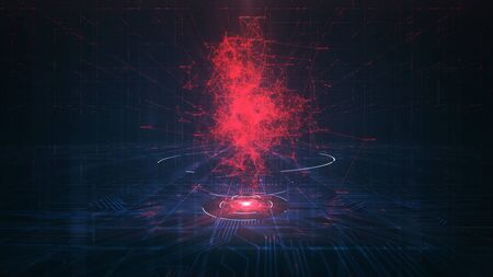 Evil Artificial intelligence (AI) concept.Risk of artificial intelligence as a future technology fear of intelligent robot machines causing a security danger. Zdjęcie Seryjne