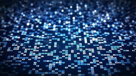 Abstract technology big data background concept. Blue hexadecimal big data digital code futuristic information technology .Network conveying connectivity and data flood of modern digital age. Zdjęcie Seryjne