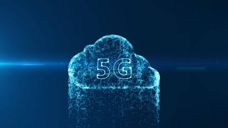 Cloud computing and Big data concept. 5G connectivity of digital data and futuristic information. Abstract hi speed internet of internet of things IOT  big data cloud computing .