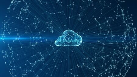 Cloud computing and cyber security concept. Technology connectivity of digital data and futuristic information. Abstract hi speed internet of internet of things IOT  big data cloud computing . Zdjęcie Seryjne