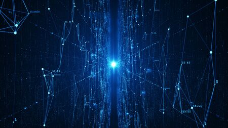 Abstract technology  big data background concept. Motion of digital data flow. Transferring of big data. Transfer and storage of data sets , block chain, server,  hi-speed internet.