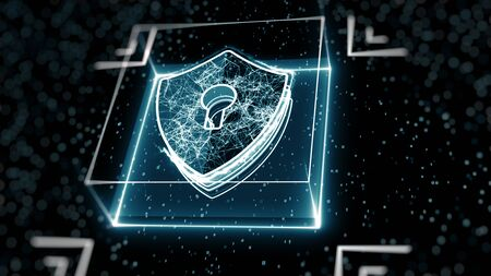 Abstract cyber security concept. Shield With Keyhole icon on digital data background. Illustrates cyber data security or information privacy idea. Blue abstract hi speed internet technology.