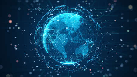 Global network connection and data connections concept. Communication technology global world network. Digital Data network technology With social network icons surrounded for worldwide connections.