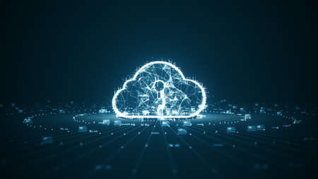 Cloud computing and Big data concept. Network connectivity of digital data and futuristic information. Abstract hi-speed internet of things IOT  big data cloud computing.