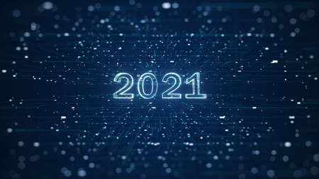 Digital banner 2021 Happy New Year on blue background with HUD interface and polygons. Futuristic technology 2021 concept. Digital design poster 2021 New Year for New Year, Christmas, Background. Foto de archivo