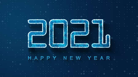 Digital banner 2021 Happy New Year on blue background with HUD interface and polygons. Futuristic technology 2021 concept. Digital design poster 2021 New Year Background.
