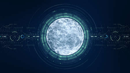 Technology big data concept. Futuristic spherical interface. Motion of digital data flow. Transferring of big data. Transfer and storage of data sets, block chain, server,  hi-speed internet.