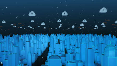 Smart city and cloud computing network concept. futuristic city network connection. Flying through buildings with a binary code particles network, big data, Artificial intelligence, Internet of things