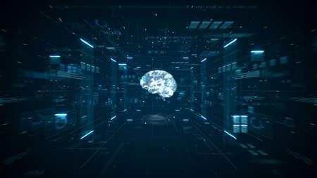 Artificial intelligence brain animation. Digital brain big data deep learning computer machine. Animation big data concept. Big data flow analysis. Artificial intelligence digital brain. 3d render. Stockfoto