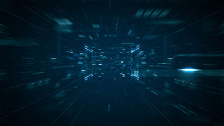 Abstract technology big data concept. Motion graphic for abstract data center, data flow. Transferring of big data and storage of blockchain, server,  hi-speed internet. 3D Rendering.