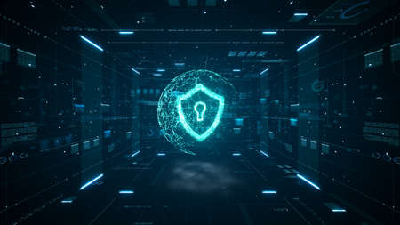 Cyber security concept. Shield With Keyhole icon on digital data background. Cyber data security or information privacy idea. Blue abstract hi speed internet technology. Big data flow analysis.