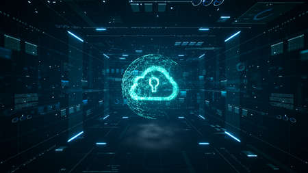 Cloud computing and Big data concept. 5G connectivity of digital data and futuristic information. Abstract hi-speed internet of things IOT  big data cloud computing.