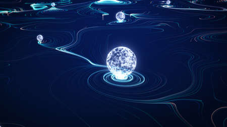Big data concept. Digital data flow. Transferring of big data. Transfer and storage of data sets. Database protection and secure transmission of information on blockchain networks. 3D Rendering. Stockfoto