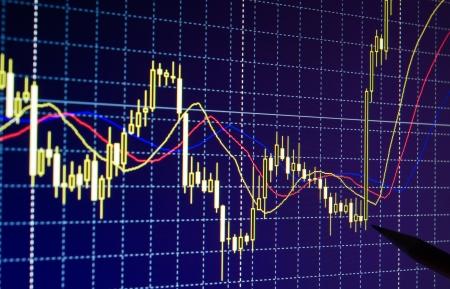 Trading Forex-Charts für Währungen aufwachsen Lizenzfreie Bilder