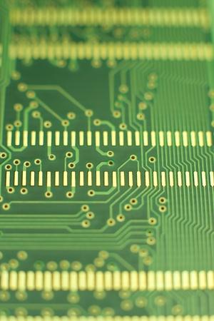Motherboard Makro - grün Platine mit kleinen Löchern und Kontakte Lizenzfreie Bilder