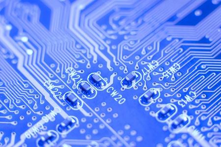 Motherboard-Makro - blau-Platine mit kleinen microschemes