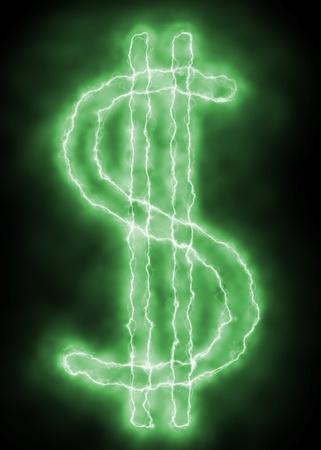 Dollarzeichen - grün Lightning Funke auf schwarzem Hintergrund
