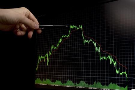 grüne fallende Forex Kursdiagramm auf schwarzem Hintergrund und Hand mit Männern zeigen auf maximale Graph peak