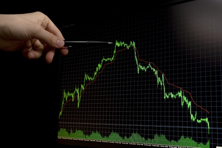 pent: green falling forex stock chart on black background and hand with men pointing on maximum graph peak