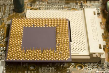 Makro-View pc Mikroprozessor liegen auf dem Motherboard verbunden-Sockel