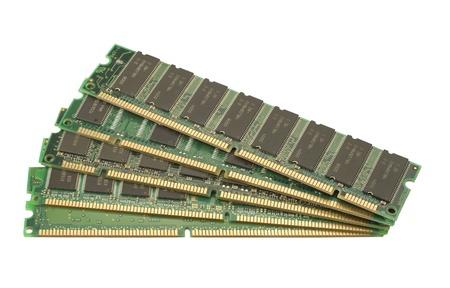 Closeup Computer grün isolated on white Background RAM-Speicher Lizenzfreie Bilder