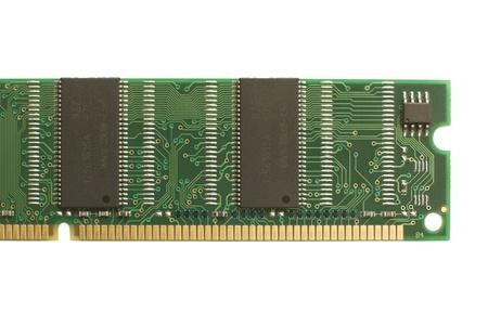 Teilansicht des grünen und schwarzen Computerspeicher RAM, isolated on white background
