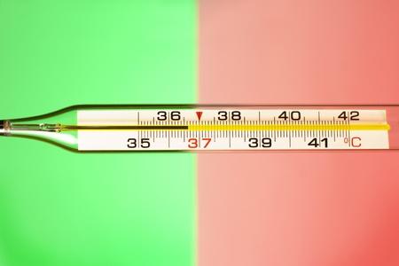 Teilansicht des Thermometer auf grünen und roten Hintergrund als Konzeption der guten und Gefahr der Temperatur Lizenzfreie Bilder