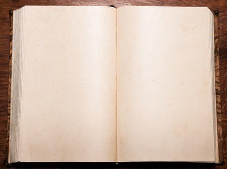 alt antikes Buch geöffnet auf leere Seiten mit kleinen Flecken und andere alter Artefakte