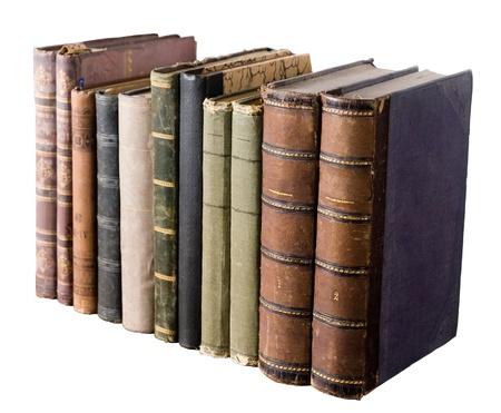 isoliert Zeile der Antiquarische Bücher auf weißem Hintergrund