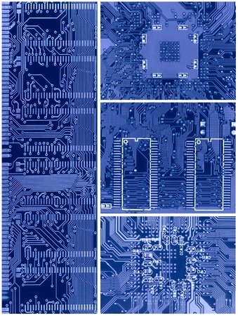 schemes: set of four blue circuit boards schemes