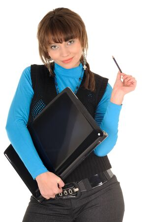 Photo of naughty student girl with brown hair in black suit with personal computer posing at camera, isolated on white