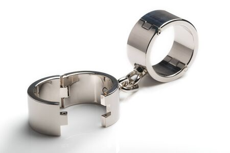 Beautiful metal iron chrome handcuffs