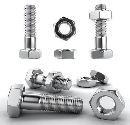 3D rendering set of nuts and bolts on white background