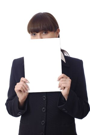 Young adorable businesswoman covers face of one paper sheet. Woman eyes. Office female worker. Isolated on white background Stok Fotoğraf