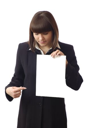 Cheerful successful businesswoman points finger on document blank. Woman worker, student, secretary portrait on white isolated background
