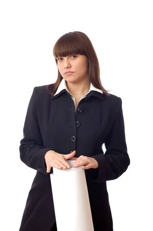 Adorable young standing caucasian white woman holds paper sheet and posing. Portrait successful businesswoman on isolated background