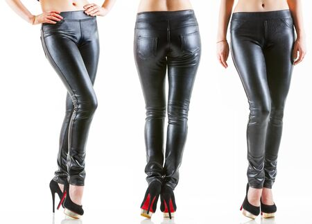 Collection of womans legs in different poses in dark leather skinny pants and high heel black shoes with red sole. Front, side and back view. Isolated on white background
