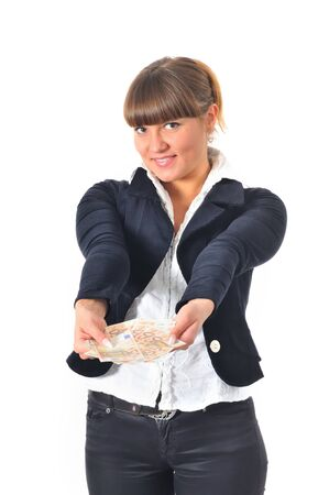 Portrait of smiling caucasian white woman wins and get cash money. Finance and business. Wealth. Isolated on white background
