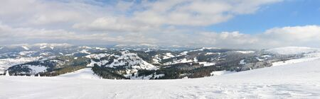 Beautiful panoramic photo of a mountain coniferous forest in winter. Snow covered trees, view from the top of the mountain Foto de archivo