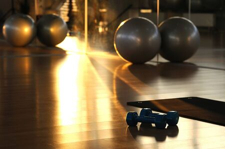 Sports equipment at the gym concept. Dumbbells, fitness ball and yoga mat on the floor. Blurred on dark background