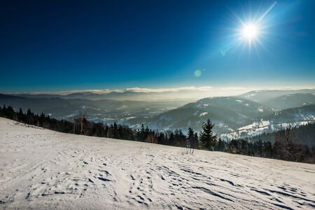 Top view of a spacious snow-covered ski slope on the background of hills covered with trees on a sunny frosty winter day. Ski Vacation Concept. Copyspace