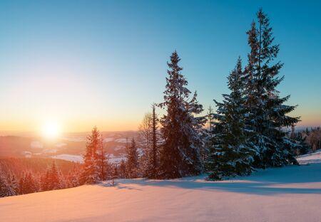 화창한 서리가 내린 겨울날 푸른 하늘과 흰 구름을 배경으로 눈 덮인 언덕에 자라고 있는 울창한 침엽수림의 매혹적인 풍경. 스키 리조트와 트레킹의 개념 스톡 콘텐츠