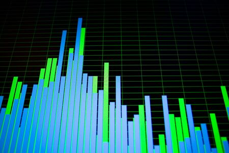 Bright colorful waveforms and spectograms on computer screen in details. Colorful geomteric game and modern digital technologies concept
